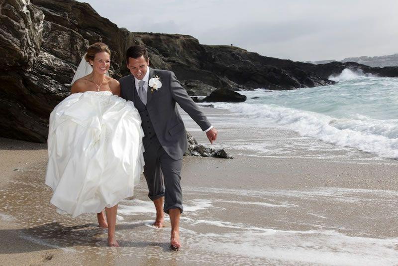 headland-hotel-romantic-getaway-The Headland Wedding Couple on Fistral Beach