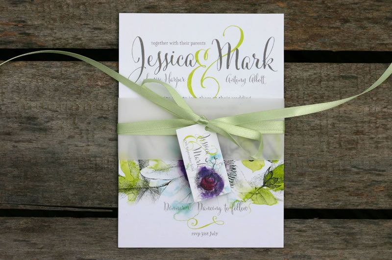 ivy-ellen-natural-Passiflora Belly Band Wedding Invitation from £1.95 www.ivyellen.com