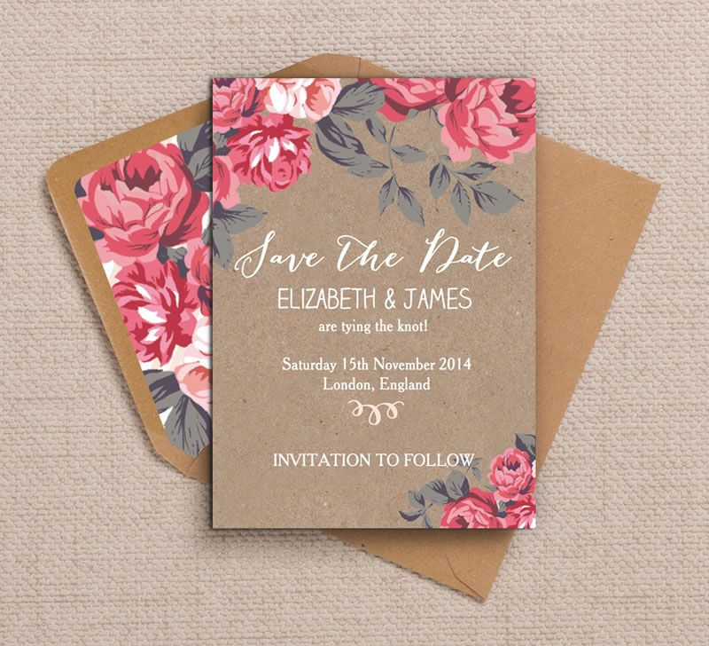 on-sale-may-Lifestyle Image Rustic Floral  Save the Date by Hip Hip Hooray, from 75p� kraft, pink, cerise, fuchsia, flowers, roses