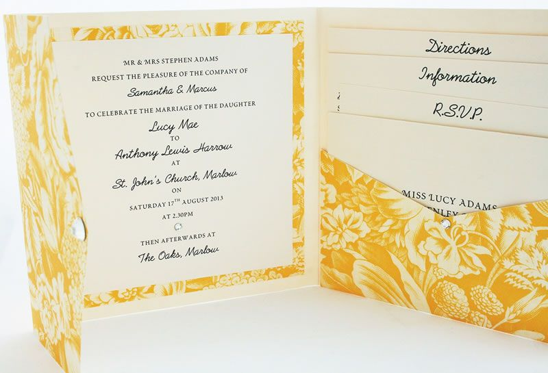 on-sale-may-Yellow Floral pocket fold with  3 inserts and rsvp env £5.75