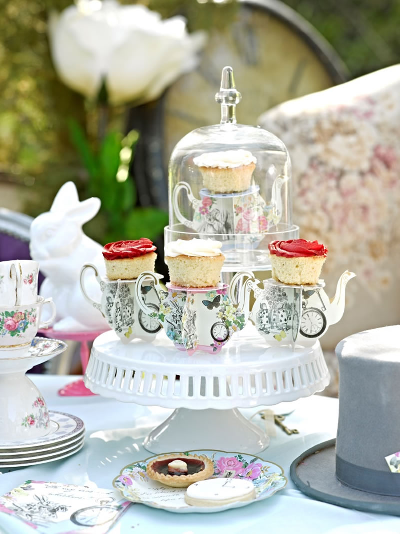 Talking Tables - Truly Alice - Table setting - Teapot cake stands - lifestyle - Portrait