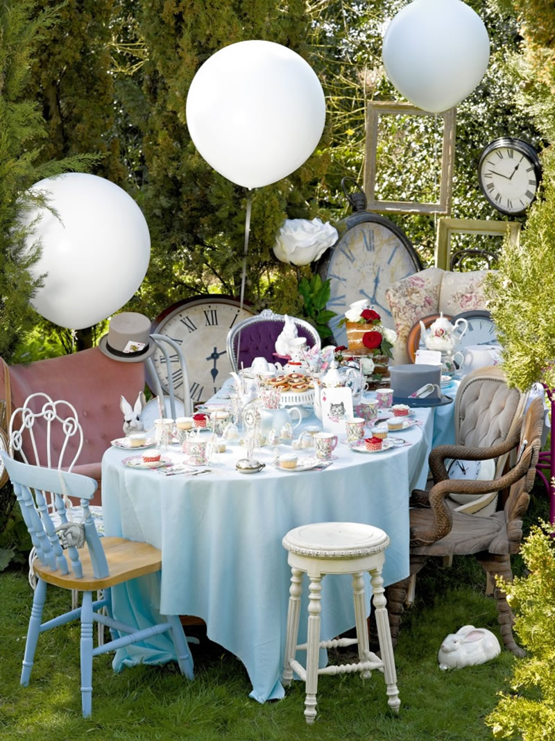 Talking Tables - Truly Alice - Table setting - Whimsical cup and saucers, curious cake domes, drink me set - lifestyle - Portrait