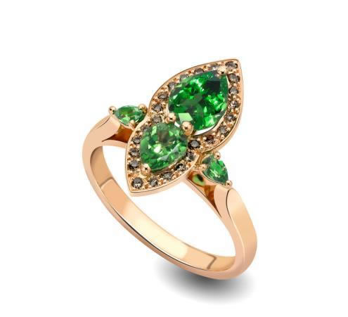 heirloom-london-hand-shape-Ana de Costa Tsavorite and Brown Diamond ring