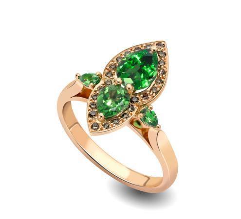 heirloom-london-hand-shape-Ana de Costa Tsavorite and Brown Diamond ring