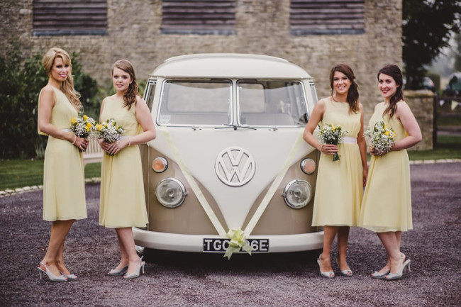 BRIDESMAIDS IN FRONT OF VAN Bridesmaid Dresses to Suit Every Shape