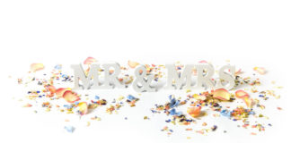 quirky-confetti-ShropshirePetals.com Mr and Mrs sign with confetti from £11.50 per litre