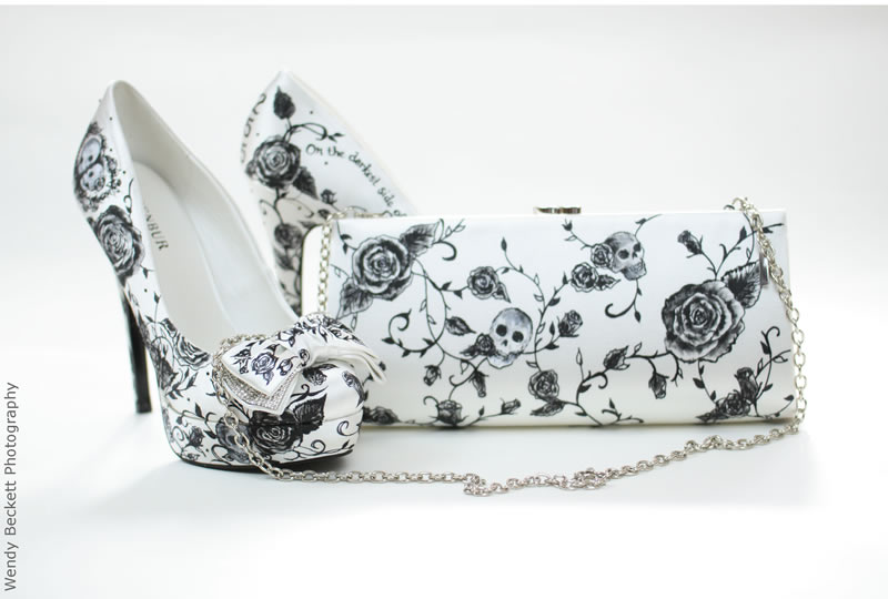 readers-offers-150-black and white skull shoes with matching bag (poa)
