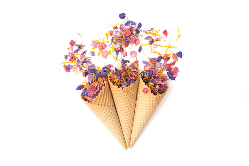 summer-confetti-ShropshirePetals.com Ice cream Cones with Raspberry Fool, Midnight Blue and Ginger Snap £11.50 per litre