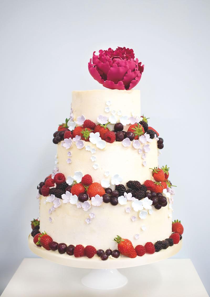 behind-times-wedding-cake-Rosalind Miller Summer fruits buttercream wedding cake