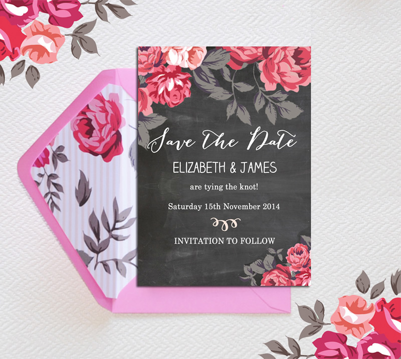 Botanical Save the Date with pattern by hiphiphooray