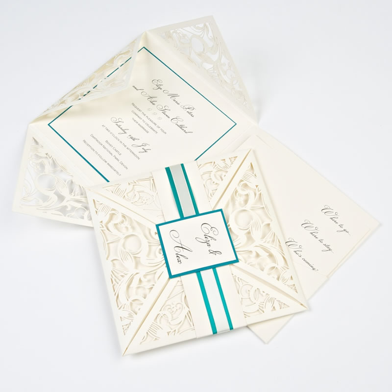 pocketfold-invites-Kissing Gate Laser Wedding Invite Ivory and Peacock Blue