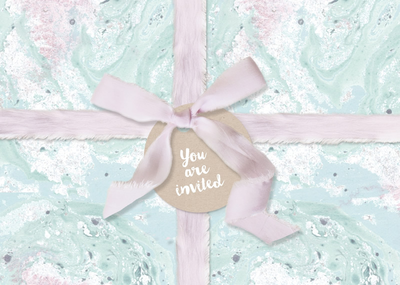 Lucy Ledger - Marble - Printable front of postcard invitation