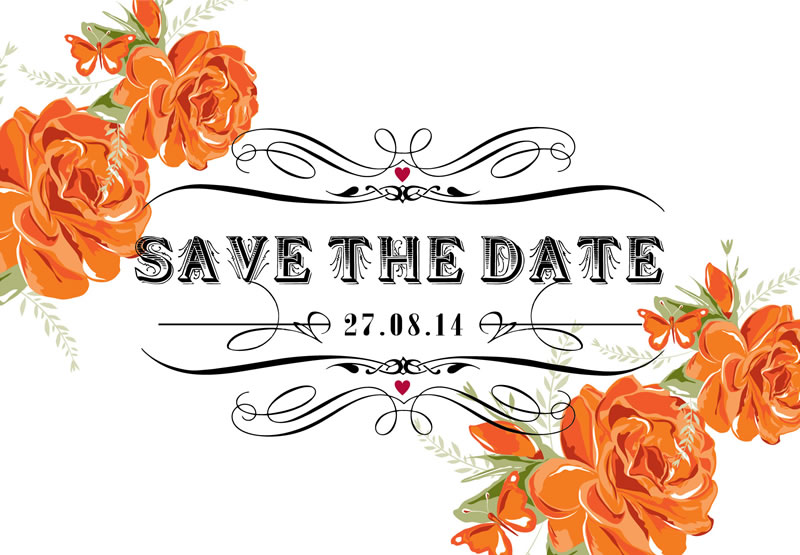 autumn-wedding-stationery-ditsychic.com - Garden Party -Save the Date From £1.90 Orange