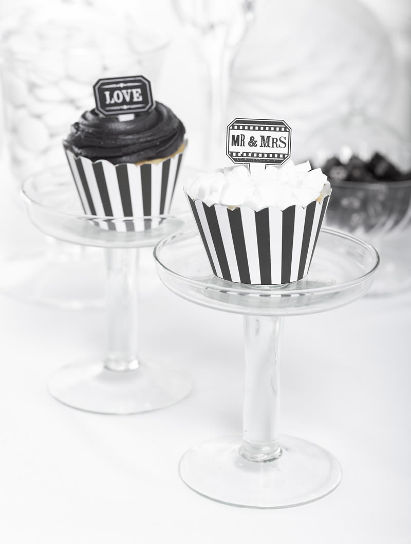 black-white-wedding-theme-Talking Tables - Monochrome Magic - Bridal - Cup cake cases & toppers lifestyle - Portrait