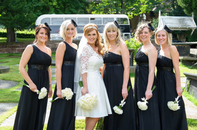 black and white themed bride and bridesmaids- 12 Days of Wedding Planning: Your Wedding Theme