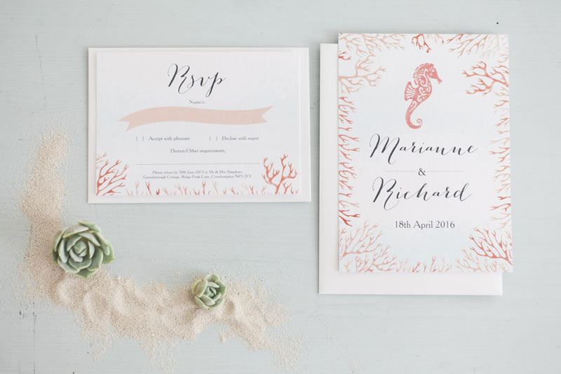 hip-hip-hooray-Image Credit Maxeen Kim Photography - Tropical Seahorse Beach Wedding Stationery by HipHipHooray.com 1