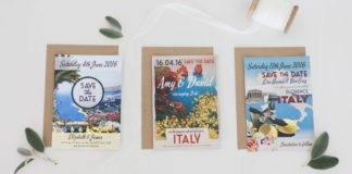 hip-hip-hooray-Photo Credit to Maxeen Kim Photography, Destination Wedding Stationery Italy Italian Postcard Save the Dates by Hip Hip Hooray from 75p