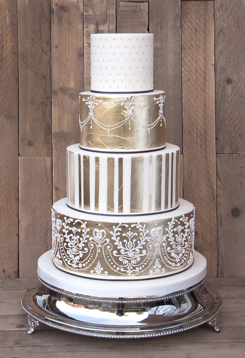 Ornate Gold Leaf Wedding Cake www.couture-cakes.co.uk