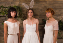 Rachel Burgess Bridal Boutique- L-R 'Frankie, Thea & Nieve' (close) from the E&W Couture Spotlight Collection. Photo By Jon Turtle Photographer (1)