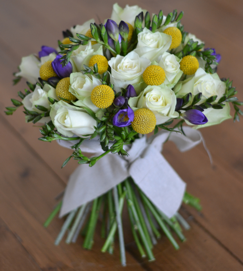 flowers-for-all-seasons-03 March - Handtied Bouquet - Freesia with Roses and Craspedia