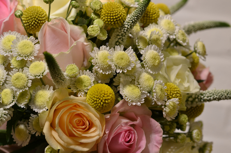 flowers-for-all-seasons-09 September - Handtied Bouquet - Chrysanthemums with Roses, Craspedia and Veronica