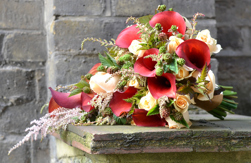 flowers-for-all-seasons-10 October - Handtied Shower Bouquet - Calla Lillies with Roses, Blackberries and Astilbe