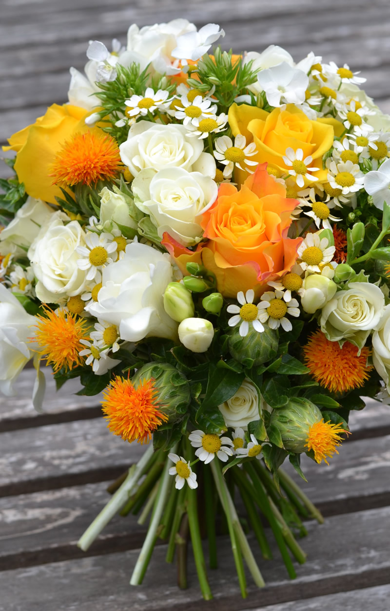flowers-for-all-seasons-11 November - Handtied Bouquet - Carthamus with Roses, Spray Roses, Phlox, Feesia and Chrysanthemums