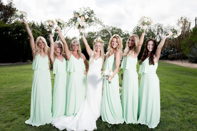 gemma and her bridesmaids Gemma and Paul had the Prettiest Mint Green Wedding