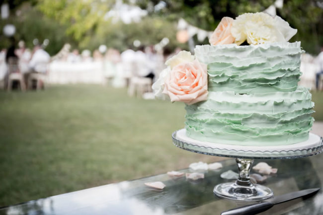 mint green layered cake - Gemma and Paul had the Prettiest Mint Green Wedding