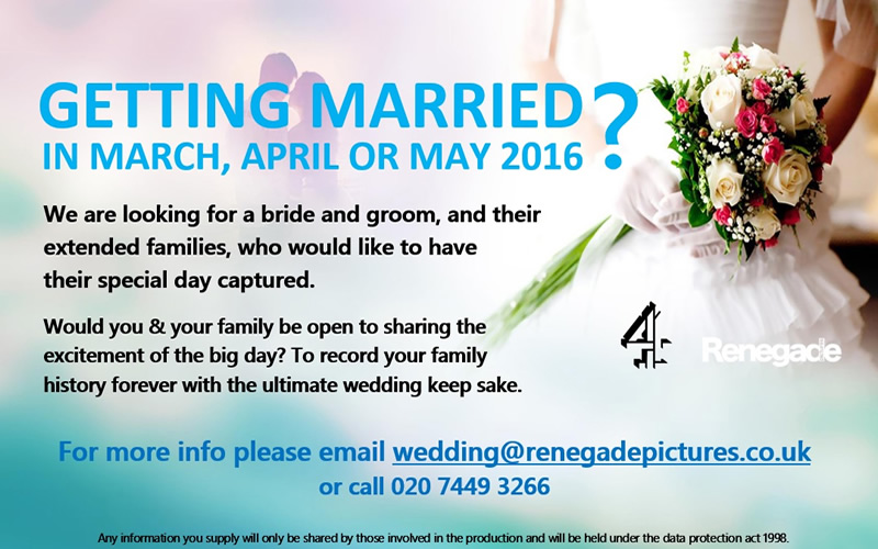 would you like to have your wedding day filmed for a new tv programme