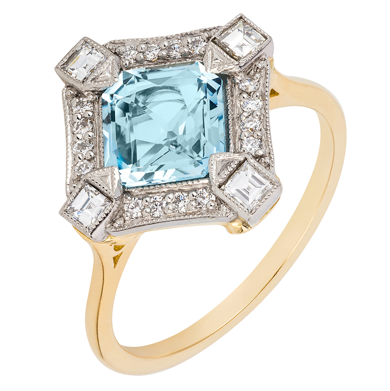 beautiful-wedding-jewellery-London Victorian Co 1930S Style Aquamarine and Diamond Ring, £1,890, www.london-victorian-ring.com
