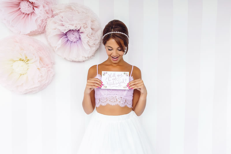 Haze of Amethyst Headband and Will You Be My Bridesmaid
