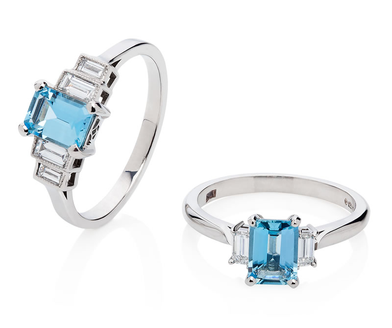 London Victorian Ring Company 1930s Style Aquamarine and Diamond Ring in Platinum, £1,890 www.london-victorian-ring.com