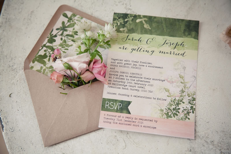 Pretty Green and Pink Floral Wild Garden Wedding Stationery by Hip HIp Hooray