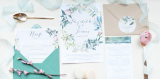 Spring themed floral wreath wedding stationery by Hip Hip Hooray