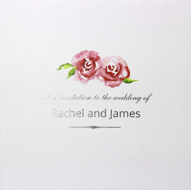 Summer Roses Wedding Invitation Folded
