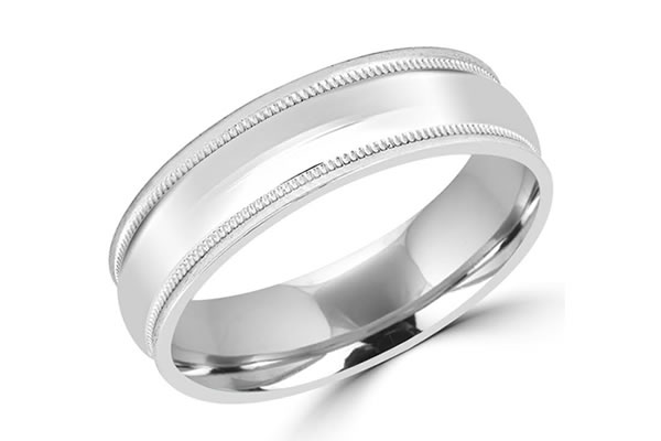 Grooms White gold decorative detailed Wedding bands