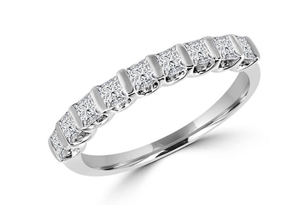 Diamond set and white gold Wedding bands
