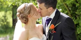 Childhood sweethearts Natalie and Ben tie the knot in their 10th year together with a purple and orange themed wedding with orchids and roses.