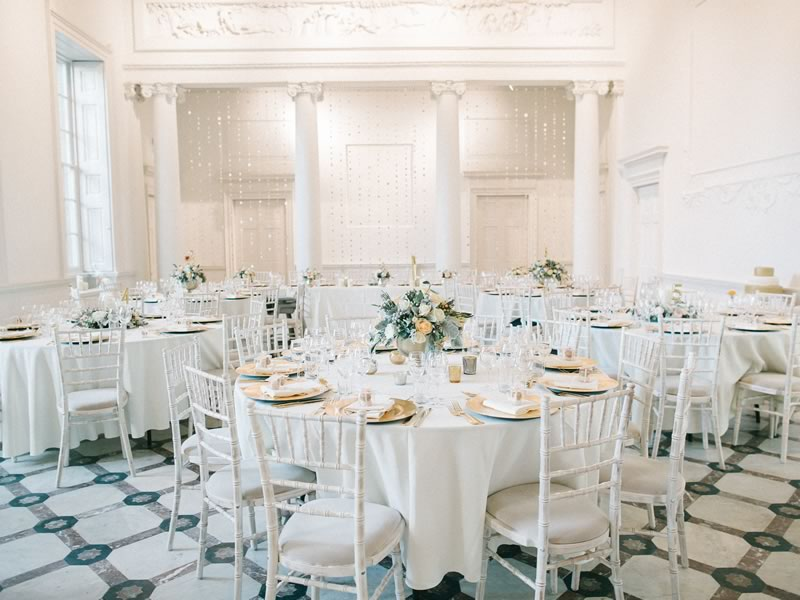 White winter wedding decor