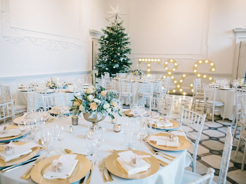 winter wedding decor lights