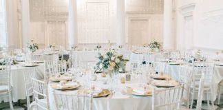 All the ideas and products you need to achieve this inspirational peach, gold and white marble wedding reception theme for your own magical day!