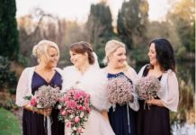 winter wedding bride and bridesmaids wearing bridal jackets