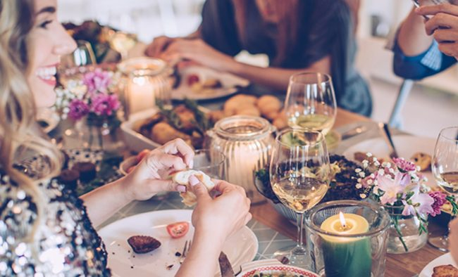girls eating christmas dinner Wedding Diet: Top Tips for Slimming Brides This Christmas
