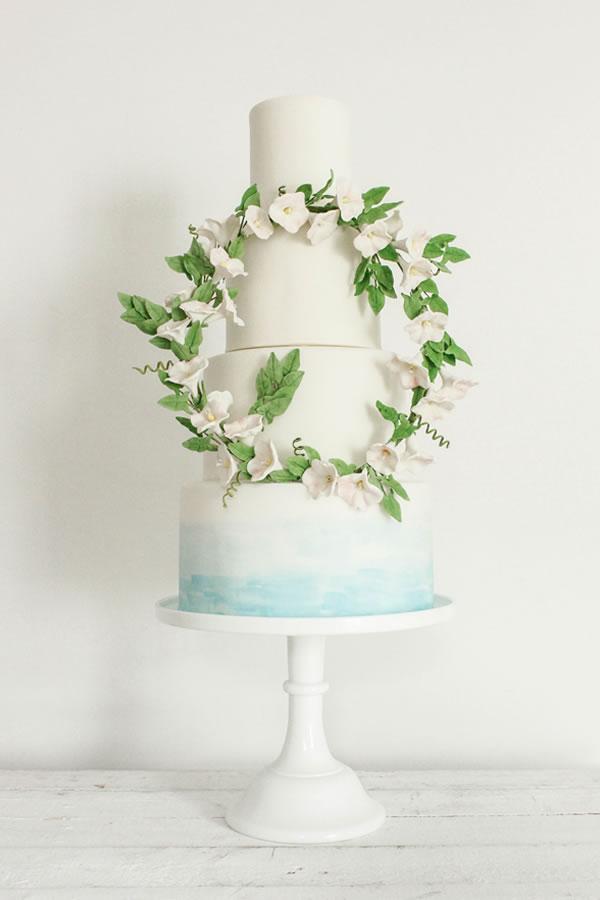 Blossom and crumbs Bindweed Wedding Cake: Fondant + watercolour wash
