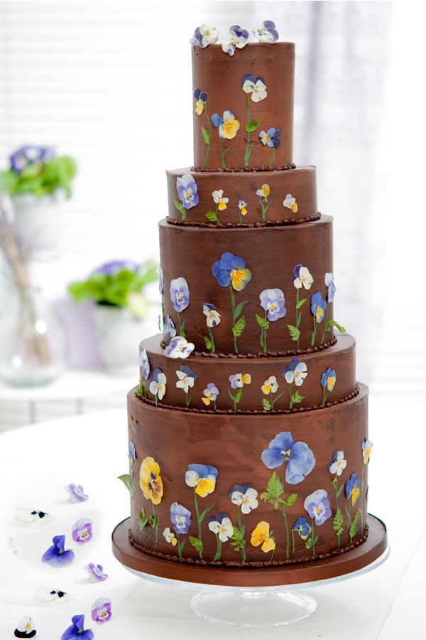 blushingcook.com: Chocolate soft iced + pressed flowers
