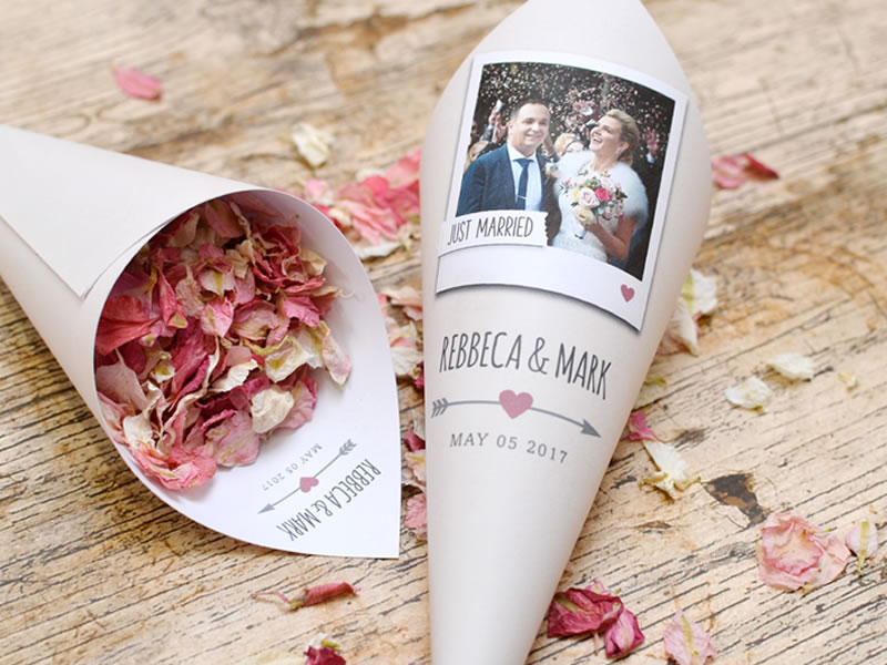 Personalise your photo confetti cones