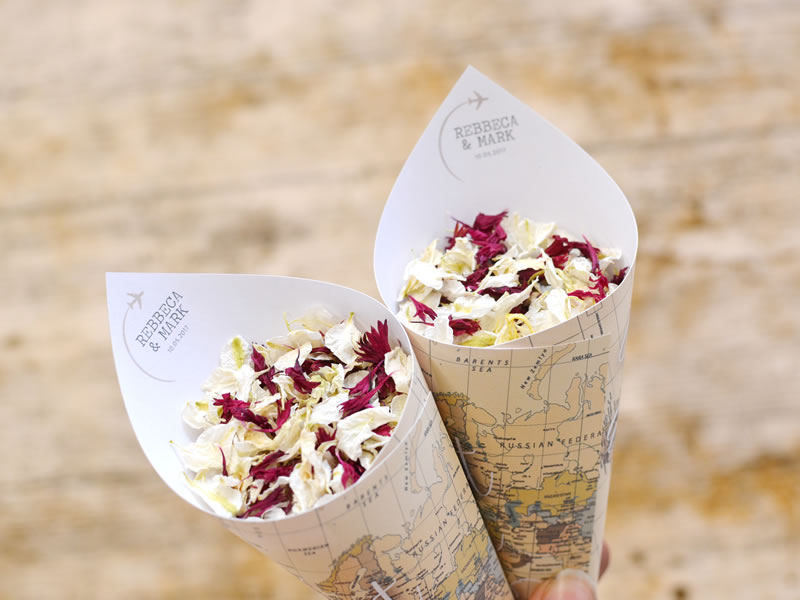 Personalise your travel themed confetti cones