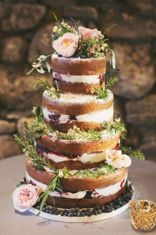 Pinterest: A fabulous fruity fool whipped through a buttercream naked iced cake dressed with fragrant herbs fresh from the garden
