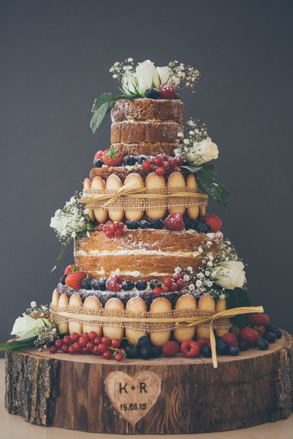 frenchmade.co.uk: Naked cake in 3 cake flavours decorated with berries and lined with biscuits